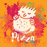 Banner for pizza on the abstract background Royalty Free Stock Photography