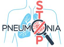 Banner  pneumonia stop. Illustration, poster or banner of world pneumonia day in the form of anatomy of the lungs and bacteria causing disease and an inscription Royalty Free Stock Photos