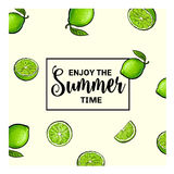 Banner, postcard design with limes background and Enjoy Summer lettering Stock Photo