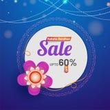 Banner or poster design, Up to 60% off offer for Raksha Bandhan. Sale on white sticker decorated with rakhi on blue abstract background Vector Illustration