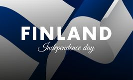 Banner or poster of Finland independence day celebration. Waving flag. Vector illustration. Banner or poster of Finland independence day celebration. Waving Stock Photo