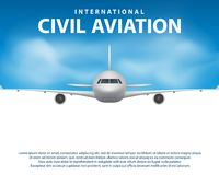 Banner, poster, flyer with Airplane background. Plane in blue sky, civil aviation airliner. Commercial airliner travel Stock Photos