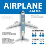 Banner, poster, flyer with Airplane Seat Map. Plane Business and Economy Class and Place for Text. Vector illustration. Airplane Seat Map Business or Economy Royalty Free Stock Images