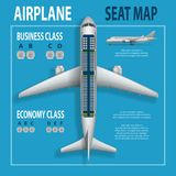 Banner, poster, flyer with airplane seats plan. Business and economy classes top view Aircraft information map. Realistic passenger aircraft indoor seating royalty free illustration
