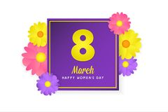 8 march womens day greeting card. Banner, poster, greeting card for womens day. Spring and summer. It can be print or just to share on social media Stock Photography