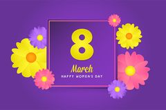 8 march womens day greeting card. Banner, poster, greeting card for womens day. Spring and summer. It can be print or just to share on social media Royalty Free Stock Photos