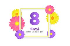 8 march womens day greeting card. Banner, poster, greeting card for womens day. Spring and summer. It can be print or just to share on social media Stock Image