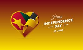 Banner or poster of Mozambique independence day celebration. Waving flag. Vector illustration. Banner or poster of Mozambique independence day celebration Royalty Free Stock Photos