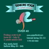 Banner poster for training of seniors yoga stock illustration