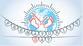Banner on Prematurity Day earth. Banner on Prematurity Day in the form of  small  legs of the newborn against the background of the earth Stock Image