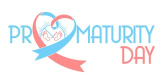 Banner on Prematurity Day. In the form of a pink blue ribbon and a small  legs of the newborn. Icon in the linear style Stock Photo