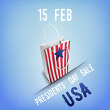 Banner for Presidents' Day sale in USA. Gift bag with star, ribbon with place for text, grunge textured background. Vector illustration Stock Image