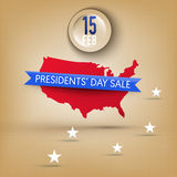Banner for Presidents' Day sale in USA. Banner for Presidents' Day sale in United States of America (USA). Map with star, ribbon with place for text, grunge Royalty Free Stock Image