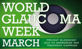 World Glaucoma Week with Symbolic Eye with this Disease, Vector Illustration. Banner with preventive campaign for World Glaucoma Week with a symbolic eye with Royalty Free Stock Images