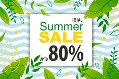Banner Promoting Summer Sale up to 80 Percent. Banner Promoting Summer Sales up to 80 Percent. Discount Design Backdrop with Jungle Palm Leaves. Nature Wallpaper vector illustration