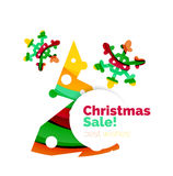 Banner pubblicitario geometrico di vendita o di promozione di Natale Fotografia Stock Libera da Diritti