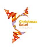 Banner pubblicitario geometrico di vendita o di promozione di Natale Immagine Stock