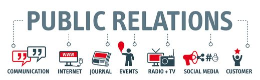 Banner Public Relations  illustration. Banner pr - chart with keywords and icons Stock Photography
