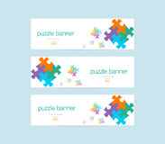 Banner with puzzle design Royalty Free Stock Photography
