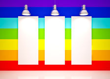 Banner on in rainbow colors wall with lamps Stock Photos