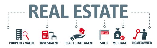 Banner real estate concept - illustration with icons vector illustration
