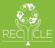 Banner about recycle  silhouette Royalty Free Stock Photo