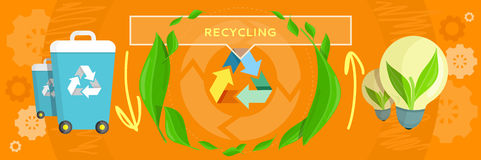 Banner Recycling Concept Design. Recycling garbage waste, ecological natural loop in nature and the cycle. Conceptual banner in a flat style. Recycle Royalty Free Stock Images
