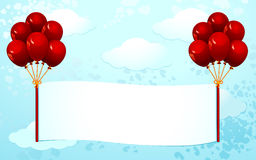 Banner with red balloons Royalty Free Stock Images