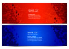 Banner red and blue color geometric abstract background, Vector illustration for your business.  stock illustration