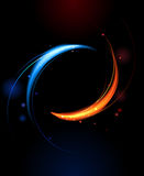 Banner of red and blue flames. Round banner of red and blue flames on a black background Royalty Free Stock Photos
