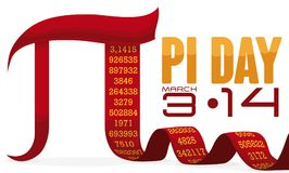 Pi Symbol like a Long Ribbon for Pi Day Celebration, Vector Illustration. Banner with red pi symbol like a ribbon with its long numeric value and reminder date royalty free illustration