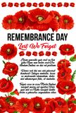 Banner with red poppies. Creative design for Remembrance day with red poppies isolated on white background. Red text Lest we forget. Concept of honoring of Stock Image