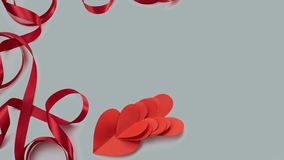 Banner red ribbon heart gray background gift Concept Valentine& x27;s day, women& x27;s day, mother& x27;s day. Banner red ribbon heart gray background gift stock photo