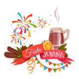 Banner with red ribbon and quentao for Festa Junina Brazil party. Vector illustration.  Stock Photography