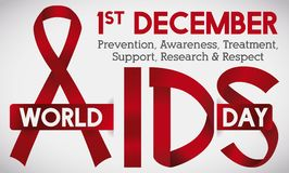 Symbolical Red Ribbons to Commemorate World AIDS Day, Vector Illustration. Banner with red ribbons and greeting message with some precepts for World AIDS Day in Stock Photography