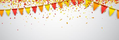 Banner with flags and confetti. Banner with red and yellow flags and paper confetti. Vector illustration Stock Photos