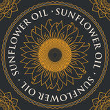 Banner for refined sunflower oil with sunflower. Square vector banner for refined sunflower oil with sunflower inscribed in a round frame on a black background Royalty Free Stock Photography