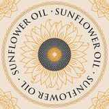 Banner for refined sunflower oil with sunflower Stock Photography