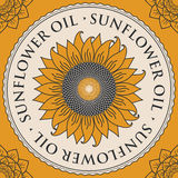 Banner for refined sunflower oil with sunflower Stock Image