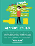 The banner on the rehabilitation of alcoholics. Flat illustration Royalty Free Stock Photo