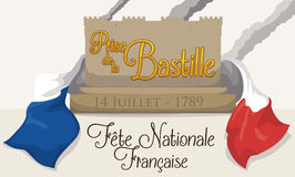 Banner Remembering the Storming of the Bastille with French Flag, Vector Illustration Royalty Free Stock Photos