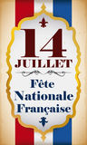 Banner with Reminder Date of French National Day, Vector Illustration Royalty Free Stock Photography