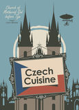 Banner for a restaurant Czech cuisine with flag. Vector banner for a restaurant Czech cuisine with czech flag and Church of Mother of God befor tyn Stock Photography