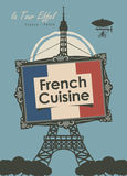 Banner restaurant French cuisine with Eiffel Tower. Vector banner for a restaurant French cuisine with french flag and Eiffel Tower Royalty Free Stock Images