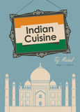 Banner restaurant Indian cuisine with Taj Mahal Stock Photo
