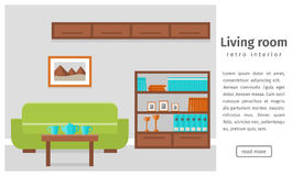 Banner of retro living room interior. Flat vector background. Royalty Free Stock Photo