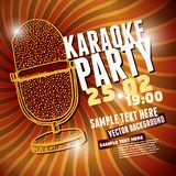 Banner with retro microphone for karaoke parties Royalty Free Stock Photo