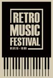 Banner for retro music festival with piano keys. Vector poster for retro music festival with piano keys in retro style on black background Stock Photo