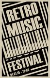 Banner for retro music festival with piano keys. Vector poster for retro music festival with piano keys in retro style on black background Stock Image