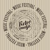 Banner for retro music festival with vinyl record Stock Images